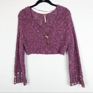 Free People cropped loose knit cardigan sweater